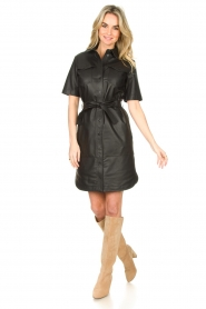 Set |  Lamb leather dress with button-up design Videl | black  | Picture 3