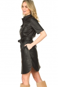 Set |  Lamb leather dress with button-up design Videl | black  | Picture 7