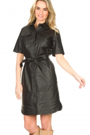 Set |  Lamb leather dress with button-up design Videl | black  | Picture 5
