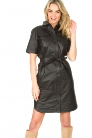 Set |  Lamb leather dress with button-up design Videl | black  | Picture 4