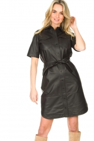 Set |  Lamb leather dress with button-up design Videl | black  | Picture 6