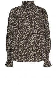 Sofie Schnoor |  Floral smocked blouse Mily | black  | Picture 1