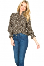 Sofie Schnoor |  Floral smocked blouse Mily | black  | Picture 4