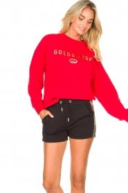 Goldbergh | Luxe logo sweater Flavy | rood   | Afbeelding 4
