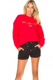 Goldbergh | Luxe logo sweater Flavy | rood   | Afbeelding 2