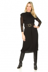 JC Sophie |  Midi dress with shoulder pads Fergie | black  | Picture 2