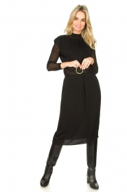 JC Sophie |  Midi dress with shoulder pads Fergie | black  | Picture 3