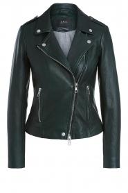 Set |  Leather biker jacket Charlie | green  | Picture 1