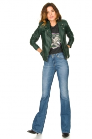 Set |  Leather biker jacket Tyler | green  | Picture 3