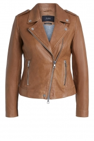 Set |  Leather biker jacket Charlie | camel  | Picture 1