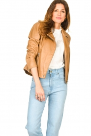 Set |  Leather biker jacket Charlie | camel  | Picture 4