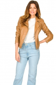 Set |  Leather biker jacket Charlie | camel  | Picture 2