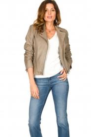 Set |  Leather biker jacket Charlie | grey  | Picture 5