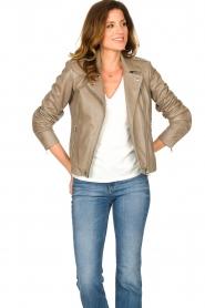 Set |  Leather biker jacket Charlie | grey  | Picture 2
