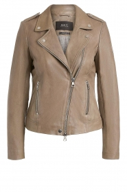 Set |  Leather biker jacket Tyler | grey  | Picture 1