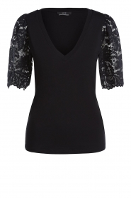Set |  Top with lace sleeve Claire | black  | Picture 1