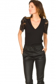 Set |  Top with lace sleeve Claire | black  | Picture 5
