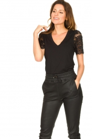 Set |  Top with lace sleeve Claire | black  | Picture 4