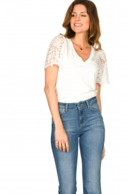 Set |  Top with lace sleeve Claire | white  | Picture 5