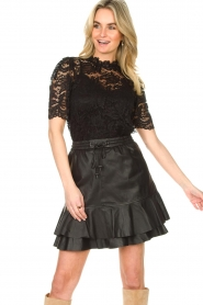 Set |  Leather skirt with ruffles Fie | black  | Picture 2