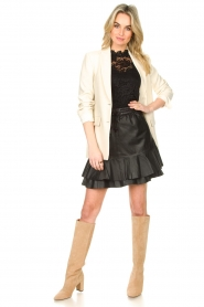 Set |  Leather skirt with ruffles Fie | black  | Picture 3