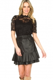 Set |  Leather skirt with ruffles Fie | black  | Picture 5