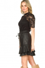 Set |  Leather skirt with ruffles Fie | black  | Picture 6