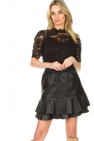 Set |  Leather skirt with ruffles Fie | black  | Picture 4