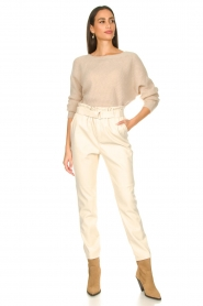 Aaiko :  Faux leather pants Pamalla | natural - img2