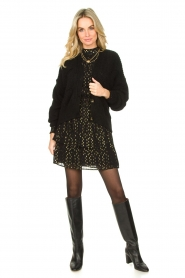 Aaiko |  Lurex printed dress Gabry | black  | Picture 3