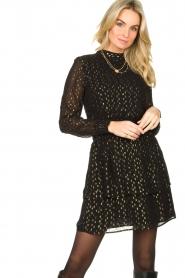 Aaiko |  Lurex printed dress Gabry | black  | Picture 2