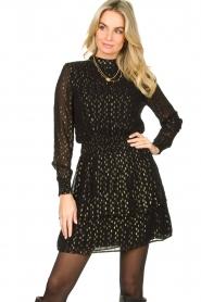 Aaiko |  Lurex printed dress Gabry | black  | Picture 4