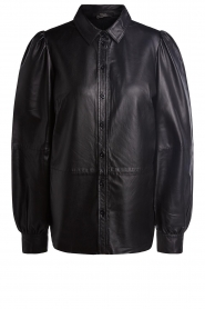Set |  Leather blouse with puff sleeves Finn | black  | Picture 1