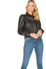 Set |  Leather blouse with puff sleeves Finn | black  | Picture 2