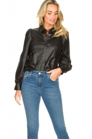 Set |  Leather blouse with puff sleeves Finn | black  | Picture 4