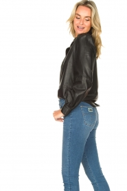 Set |  Leather blouse with puff sleeves Finn | black  | Picture 5