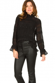Aaiko |  Smocked blouse Chava | black  | Picture 4