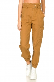 Set |  Cotton paperbag pants Fauve | brown  | Picture 4