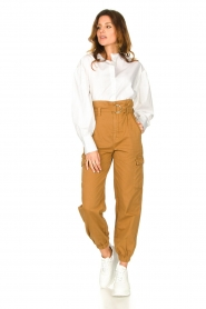 Set |  Cotton paperbag pants Fauve | brown  | Picture 3