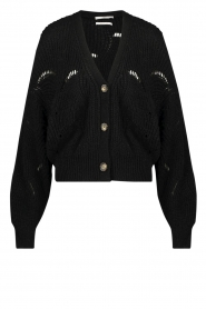 Aaiko |  Open work cardigan Aria | black  | Picture 1