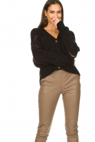 Aaiko |  Open work cardigan Aria | black  | Picture 5