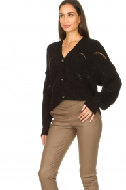 Aaiko |  Open work cardigan Aria | black  | Picture 4