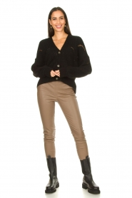 Aaiko |  Open work cardigan Aria | black  | Picture 3