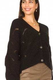 Aaiko |  Open work cardigan Aria | black  | Picture 8