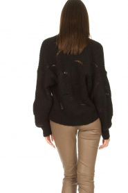 Aaiko |  Open work cardigan Aria | black  | Picture 7