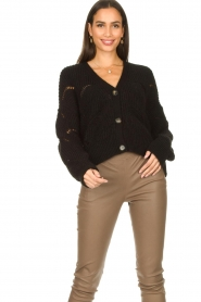 Aaiko |  Open work cardigan Aria | black  | Picture 2