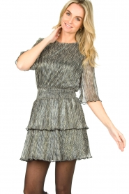 Aaiko |  Dress with silver lurex Perin | metallic  | Picture 5