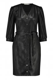 Aaiko |  Faux leather button-up dress Pleun | black  | Picture 1