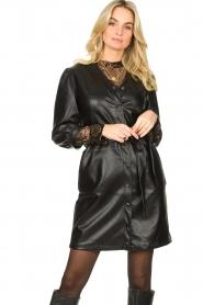 Aaiko |  Faux leather button-up dress Pleun | black  | Picture 2