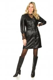 Aaiko |  Faux leather button-up dress Pleun | black  | Picture 3